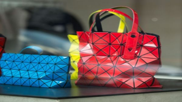 Red blue yellow handbags