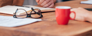 Banner Work Life red mug and glasses