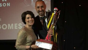 Heurelho Gomes, WFC Player of the Season with  Julie Gingell from S A Law